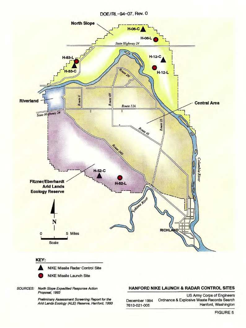 nike map of hanford defense area