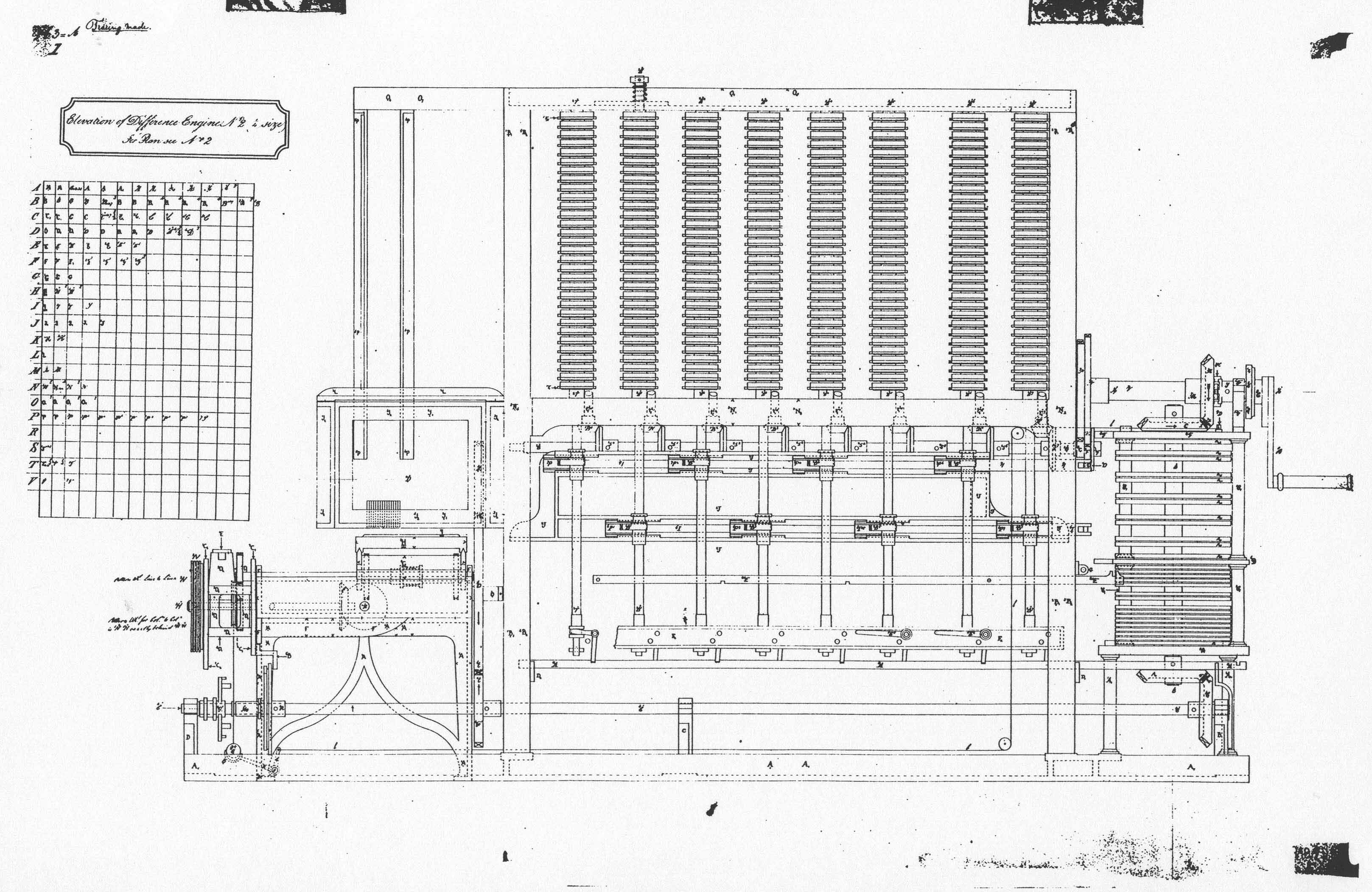 Elevation for Difference Engine No. 2 596 K bytes